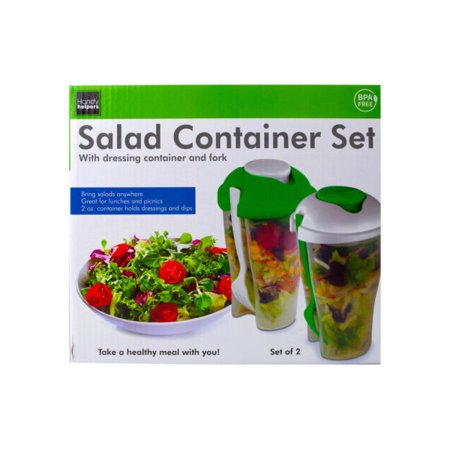 (pack of 8) 2 Pack Salad Container Set with Dressing Containers & Forks by bulk buys Keep salad or fruits fresh, cool and crisp with this 2-piece Salad Container Set with Dressing Containers & Forks featuring transparent plastic containers with an easy grab and ergonomic design. Dressing container holds 2 ounces of dressing, dips and more! Each container measures approximately 8  tall. BPA free. Comes packaged in an individual box. Box measures approximately 9  x 5.25  x 8.25 .
