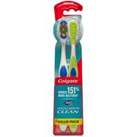 Colgate 360 Degree Adult Full Head, Medium Twin Toothbrush, 2 Count
