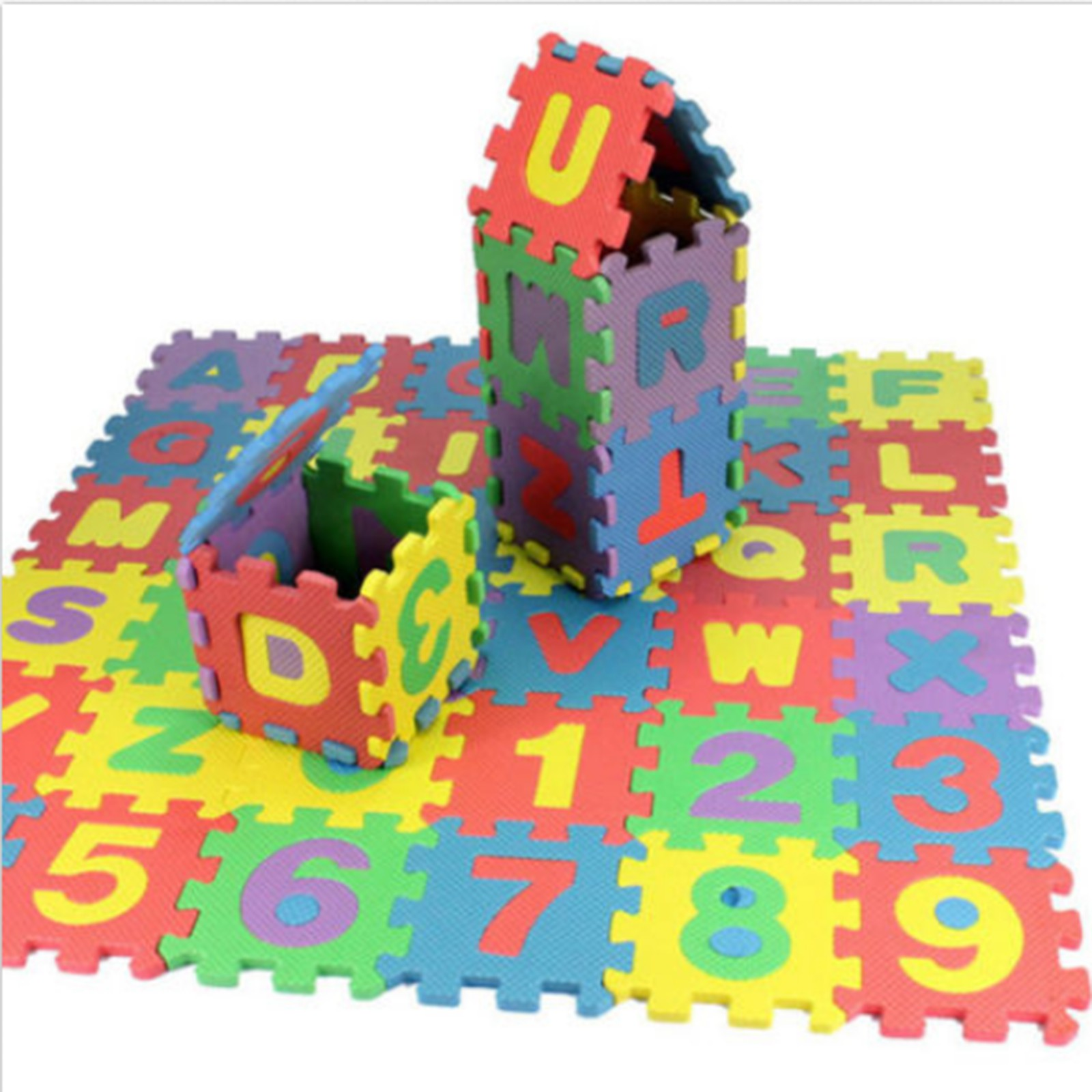 Jeobest Baby Puzzle Mat - Baby Foam Play Mat - Foam Puzzle Play Mat - 36PCS Mini Alphabet Number Baby Puzzle Pad Floor Mat Baby Play Mat Puzzle Eva Foam Floor Mat Home Decoration MZ