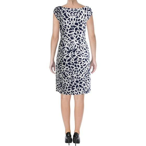 3d90090392a RalphLauren - Lauren Ralph Lauren Blue Ivory Geometric-Print Jersey Dress 14  - Walmart.com