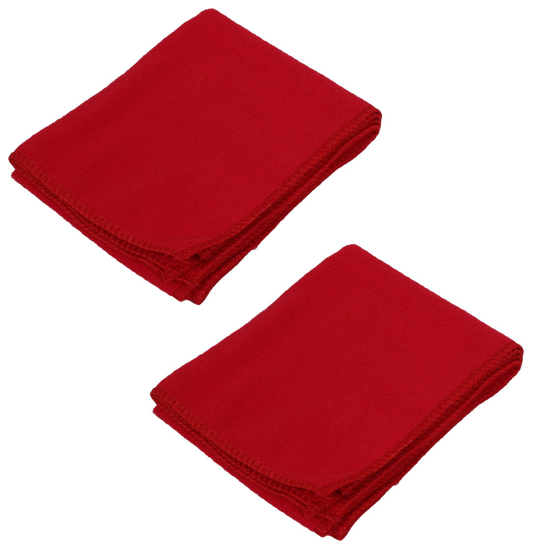 2pcs Red Microfiber Water Absorbent Car Cleaning Drying Towels Wash Clean Cloth
