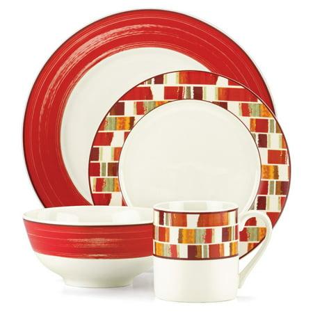 Gorham Julia Street Red Stoneware 16 Piece Dinnerware Set (Stoneware And Porcelain)