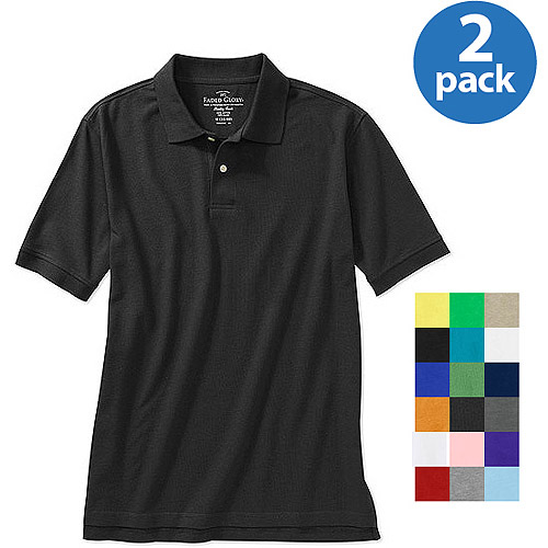Faded Glory - Men's Short-Sleeve Solid Polo Shirt, 2 Pack Value Bundle