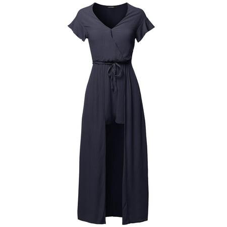 0351cd13e5b FashionOutfit Women s Solid Short Sleeves Split Maxi Short Overlay ...