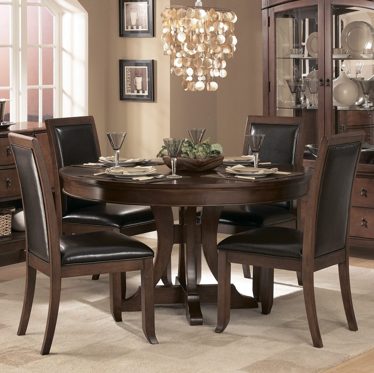 Homelegance Avalon 54 Inch Round Pedestal Dining Table In Cherry