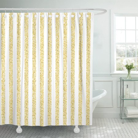 Yellow Stripe Shower Curtain - PKNMT Yellow Golden Stripes of Gold Shining Tinsel on White Polyester Shower Curtain 60x72 inches