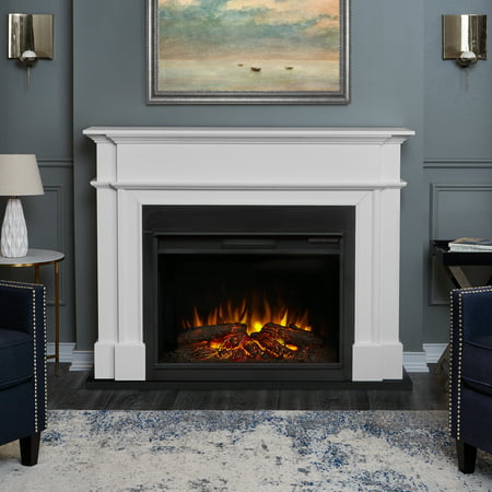 Harlan Grand Electric Fireplace White by Real Flame ()