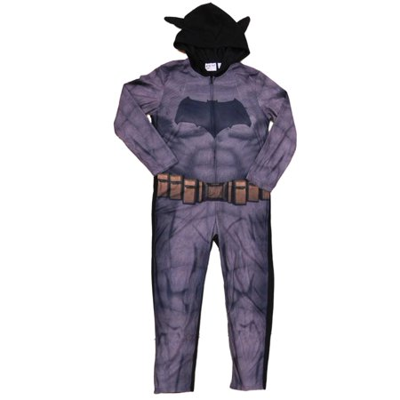 DC Comics Batman V Superman Mens Fleece Hooded Costume Union Suit Pajamas - Batman V Superman Suit