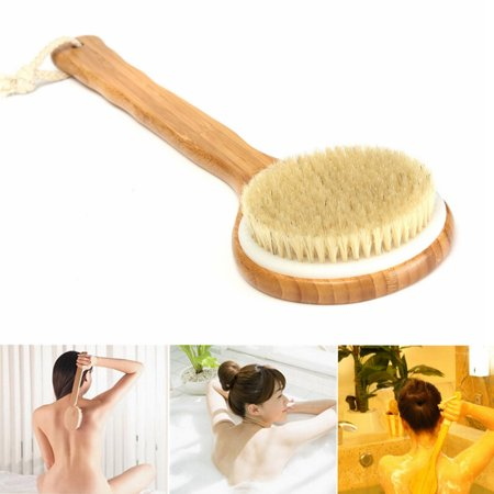 "15.7"" Back Body Bath Brush Natural Bristle Exfoliating Extra Long Handle Shower Brush Wooden Brush Scrub Scrubber Massager Shower Skin Spa for Shower Cleaning"