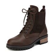 DREAM PAIRS Women's Winter Combat Ankle Boots Faux Leather Classic Round Toe Boots JAMMIE-1 BROWN Size 6.5