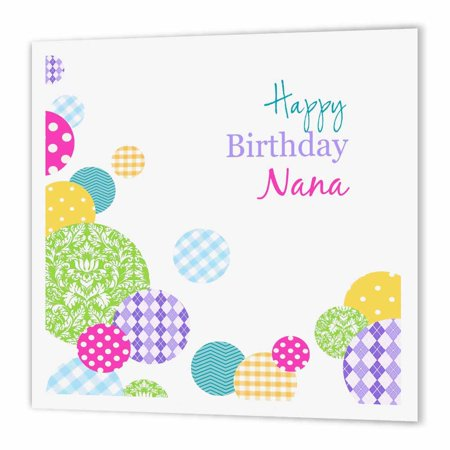 3dRose Happy Birthday Nana Modern Colorful Dots Pattern On White For Grandma Iron Heat Transfer 10 By Inch Material