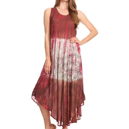 Tank Sheath - Sakkas Ombre Floral Tie Dye Tank Sheath Caftan Rayon Dress - Brown / Cream - One Size