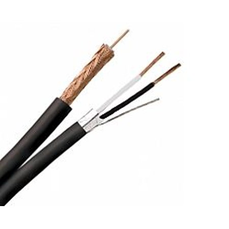 (3 Reels RG59/U SIAM Coaxial Cable 22/18 AWG Stranded Bare Copper 95% BC Braid AL Foil with Strd TC Drain CM for CCTV Siamese - Black - 500FT Reel (Reel of 500 Feet))