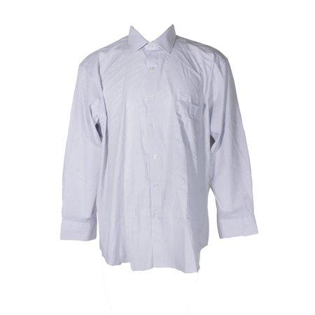 Alfani Blue White Striped Classic Regular Fit Button Down Shirt 17-17.5 32-33 XL