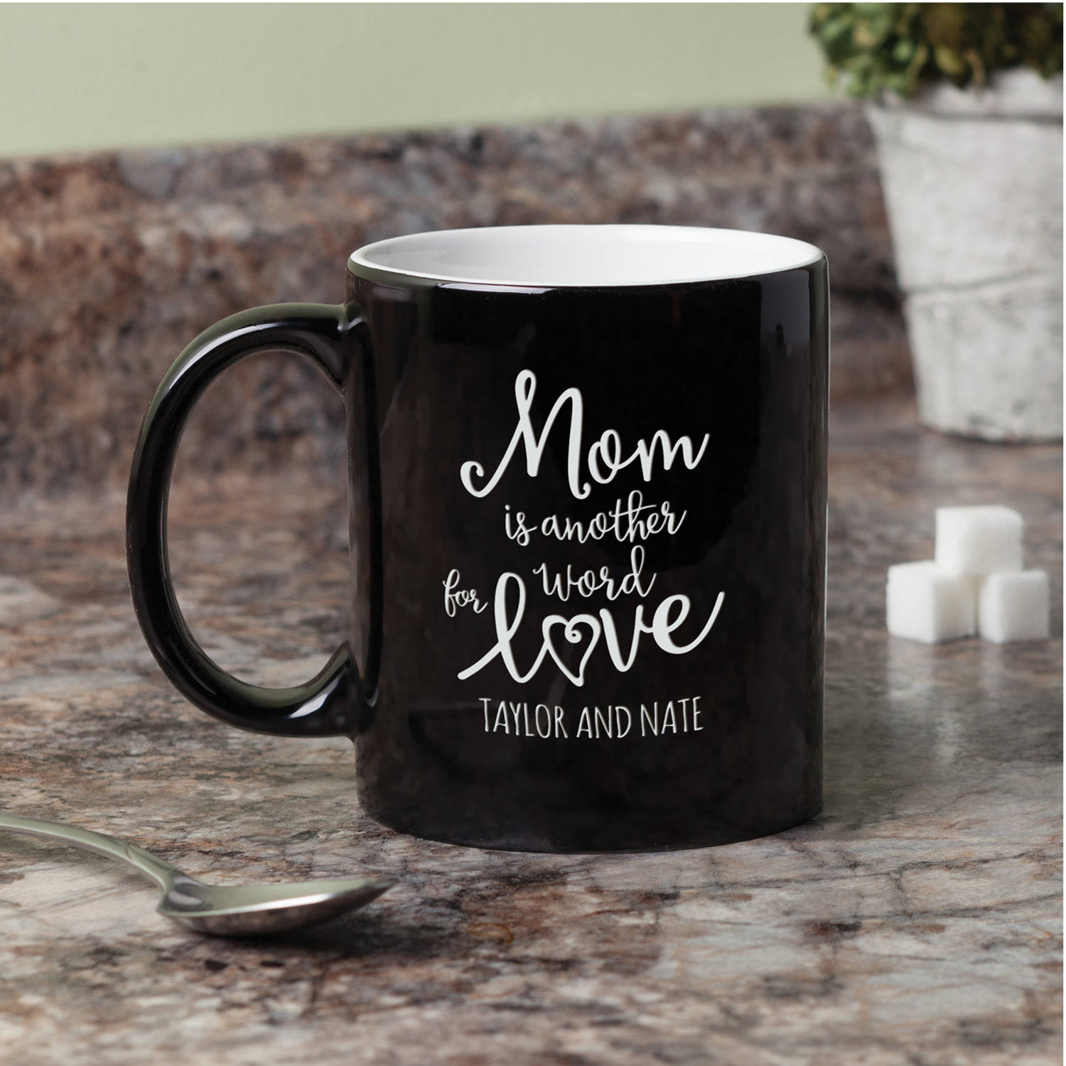 Personalized Mom Is Another Word For Love Black and White 11 oz Coffee Mug