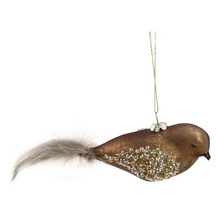Northlight Mercury Glass Bird Christmas Ornament with Feather