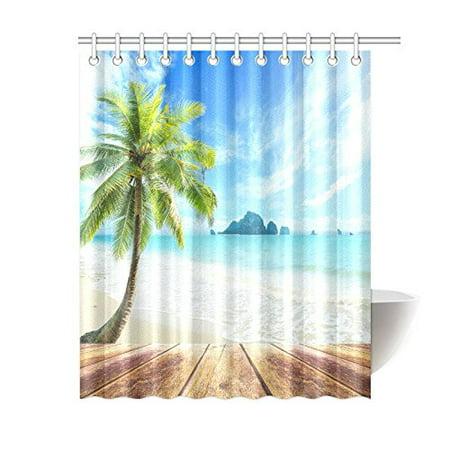 MYPOP Ocean Beach Themed Shower Curtain Water Proof House Decor Wooden Bridge Across The