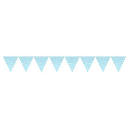 Pack of 6 Pastel Blue and White Polka Dot Jointed Paper Party Banner Flags 9'