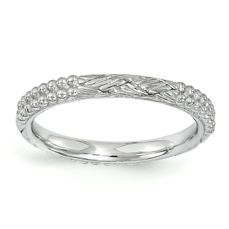 Sterling Silver Stackable Expressions Rhodium-plated Patterned Ring Size 8 - image 3 de 3