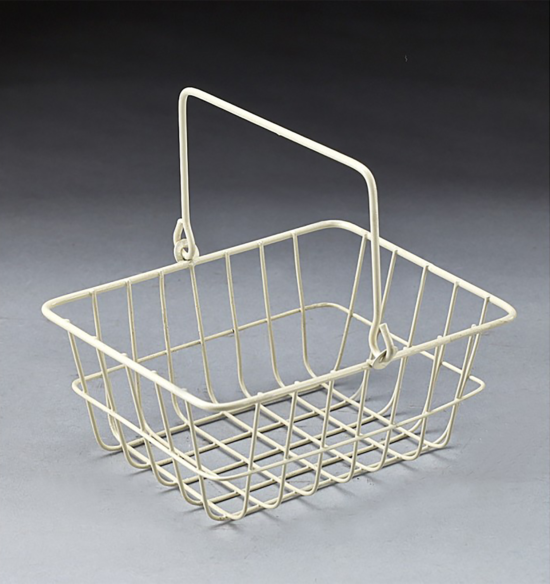 White wire metal rectanguler basket with drop handle