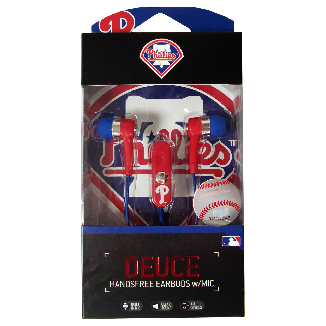 MLB Philadelphia Phillies Hands Free Ear Buds with