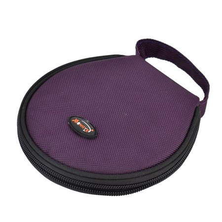 Home Nylon Hand Carry Zipper Round Case Wallet CD Holder Bag Purple 20 Discs Compact Soft Carry Case