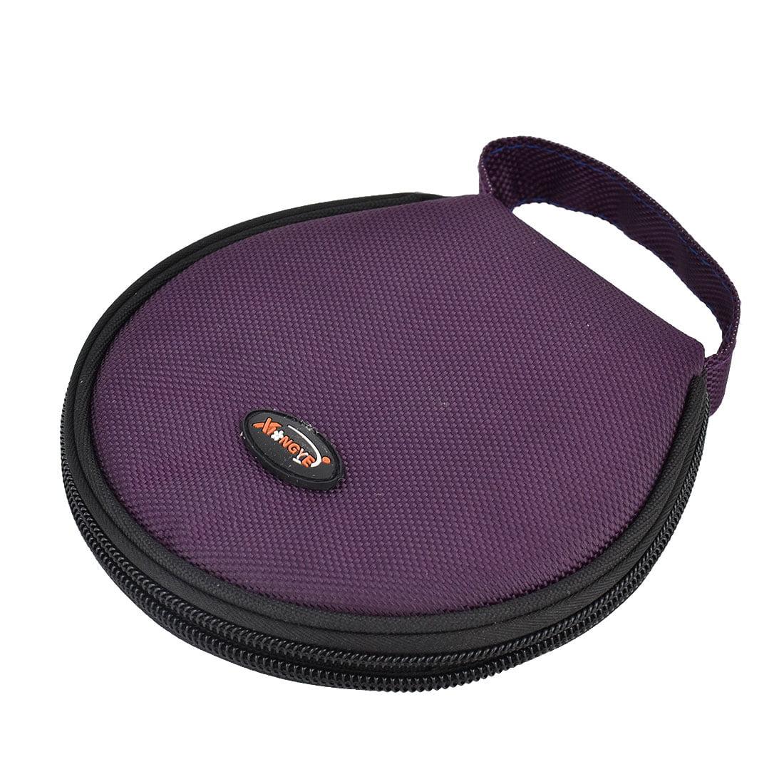 Home Nylon Hand Carry Zipper Round Case Wallet CD Holder Bag Purple 20 Discs