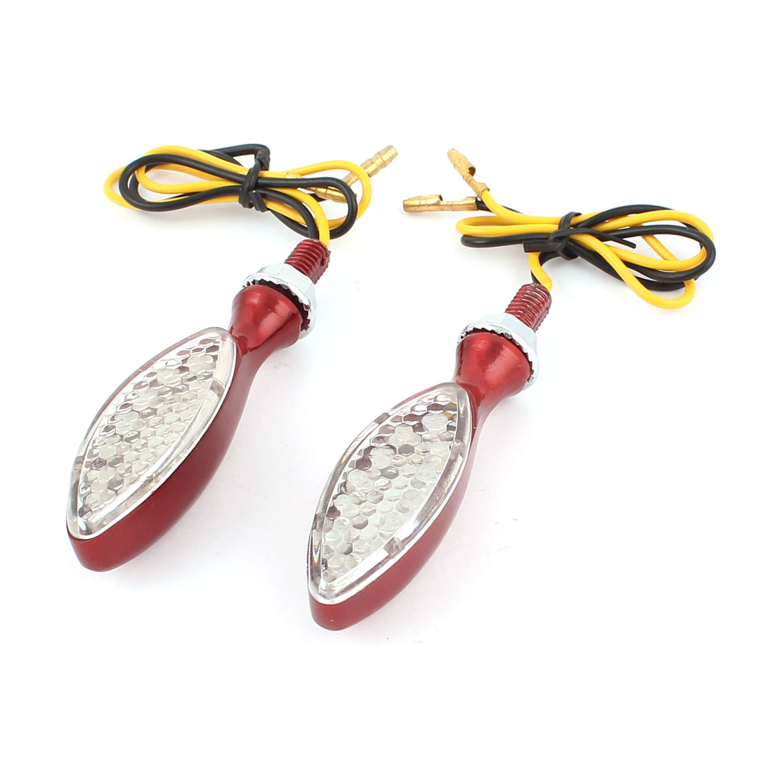 Unique BargainsRed Shield Shape Yellow  Motorcycle Turn Signal Warning Lights Lamps 2 Pcs