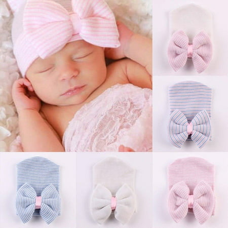 Newborn Baby Girl Infant Colorful Striped Bow Cap Hospital Warm Soft Beanie Hat