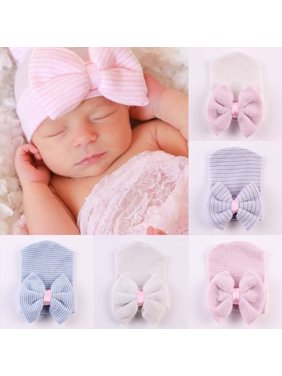 8bff4d9c88e Product Image Newborn Baby Girl Infant Colorful Striped Bow Cap Hospital  Warm Soft Beanie Hat