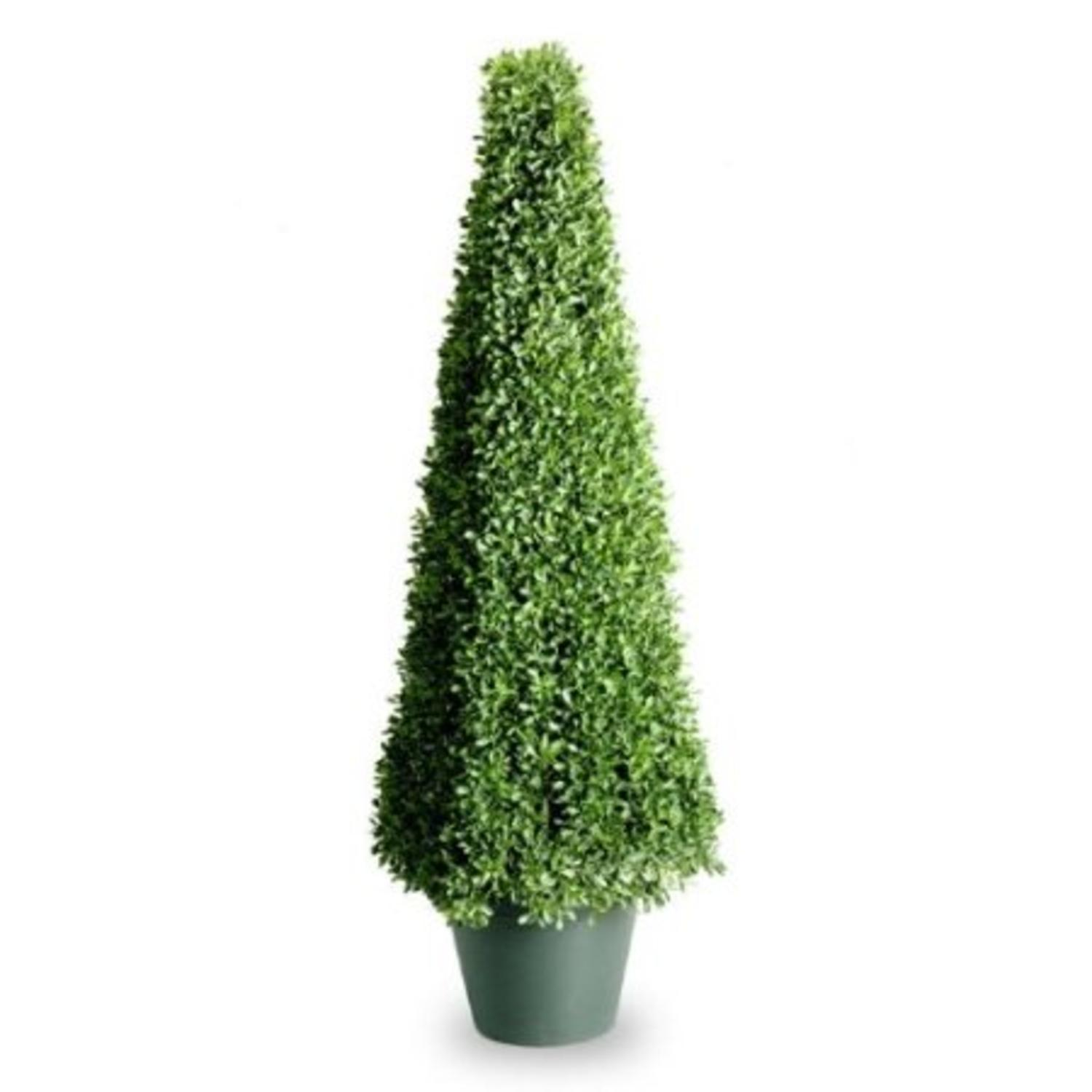 "48"" Potted Square Artificial Boxwood Topiary Tree"