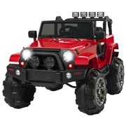 Best Choice Products 12V Kids Powered RC Ride-On Truck Car w/ Remote Control, 3 Speeds, Spring Suspension, LED Lights, AUX - Red