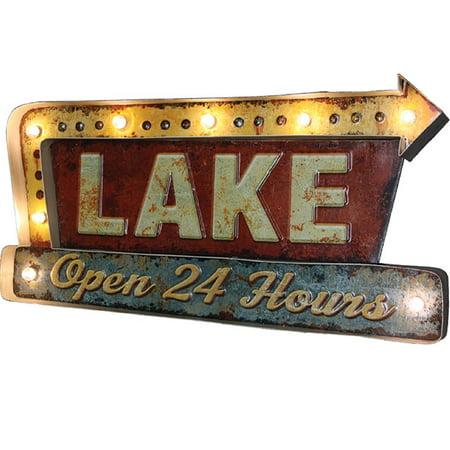 - Rivers Edge Lake LED Metal Bar Sign