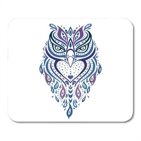 LADDKE Owl Tribal Pattern Ethnic Tattoo Aztec Swirly Mousepad Mouse Pad Mouse Mat 9x10 inch ()