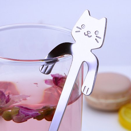 Cute Cat Spoon Long Handle Spoons Flatware Coffee Drinking Tools Gadget Silver