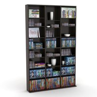 """Atlantic 60""""x37"""" Oskar Adjustable Wood Media Storage Shelf Bookcase (360 DVDs, 756 CDs), Multiple Colors"""