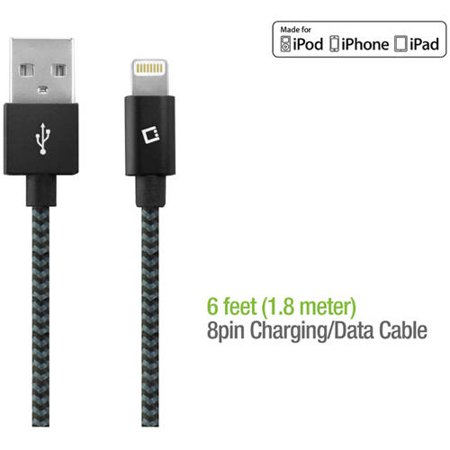 Cellet 6′ Heavy-Duty Braided Lightning 8-Pin to USB Charging Data Sync Cable for Apple iPad Pro, iPad mini 4/2, iPad Air 1/2, iPhone 6s Plus/6s/6 Plus/6/5s/5c/5, iPod touch, iPod nano