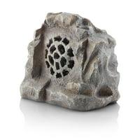 Alpine Corporation Outdoor Solar Waterproof Bluetooth Rock Speaker, Gray