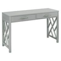 HomeFare Glam Lattice 2 Drawer Wooden Desk