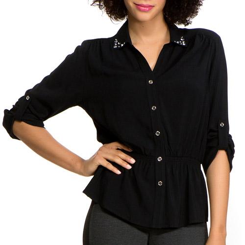 Miss Tina Women's Embellished Campshirt