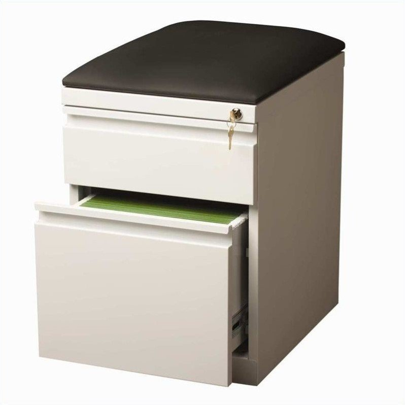 20-inch Mobile Pedestal 2-Drawer Box/File With Seat Cushion Full Width Pull, Black