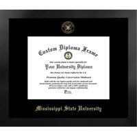 Mississippi State University 11w x 8.5h Nova Black Single Mat Gold Embossed Diploma Frame with Bonus Campus Images Lithograph (value savings at $59)