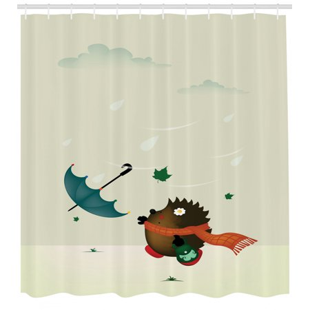 Hedgehog Shower Curtain, A Baby Animal with Scarf Trying to Catch Her on water bathroom design, black and white bathroom design, beach bathroom design, faith bathroom design, under the sea bathroom design, home bathroom design, arts and crafts bathroom design, classic bathroom design,