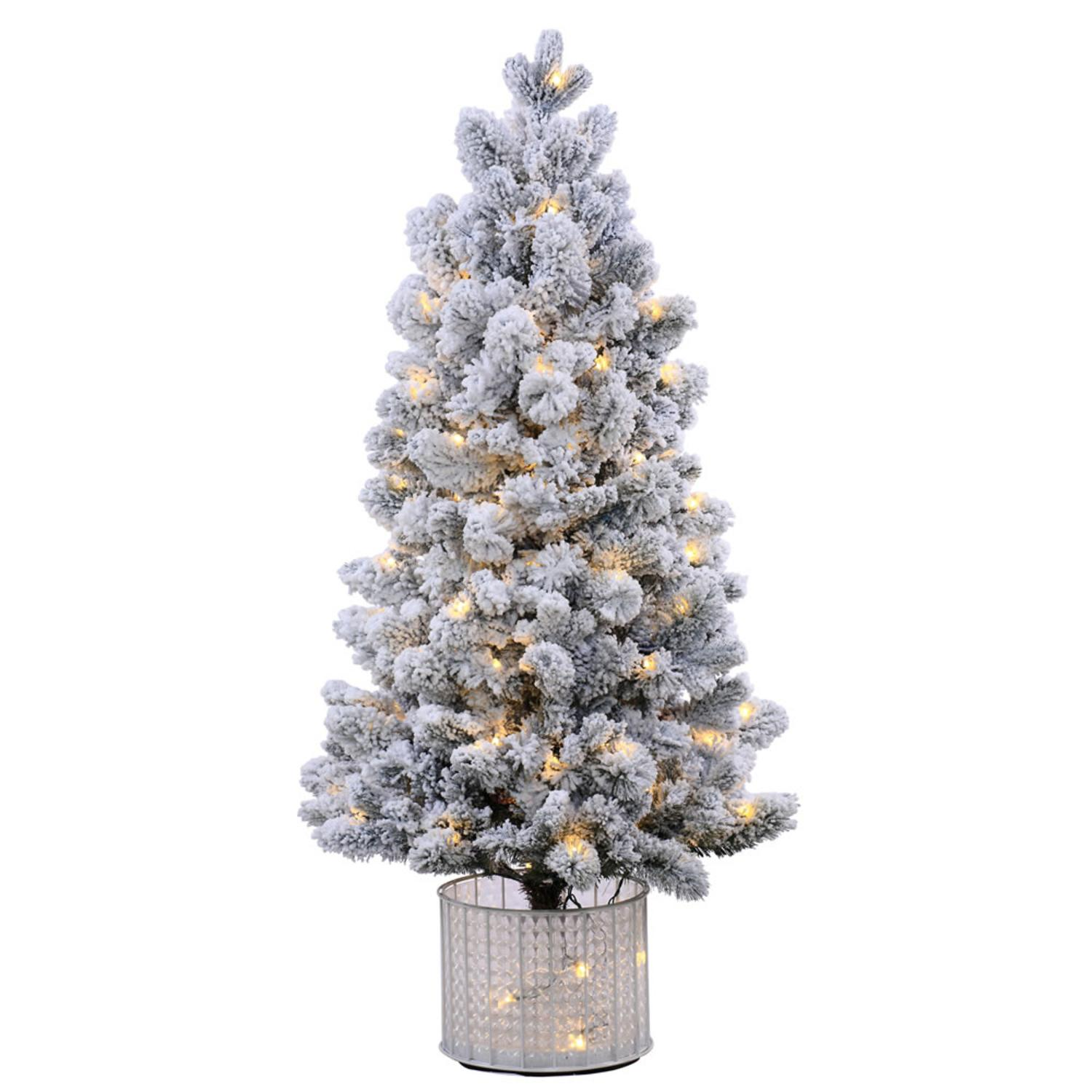 5' Pre-Lit Potted Flocked Morgan Spruce Artificial Christmas Tree -Warm Wht LED Lights