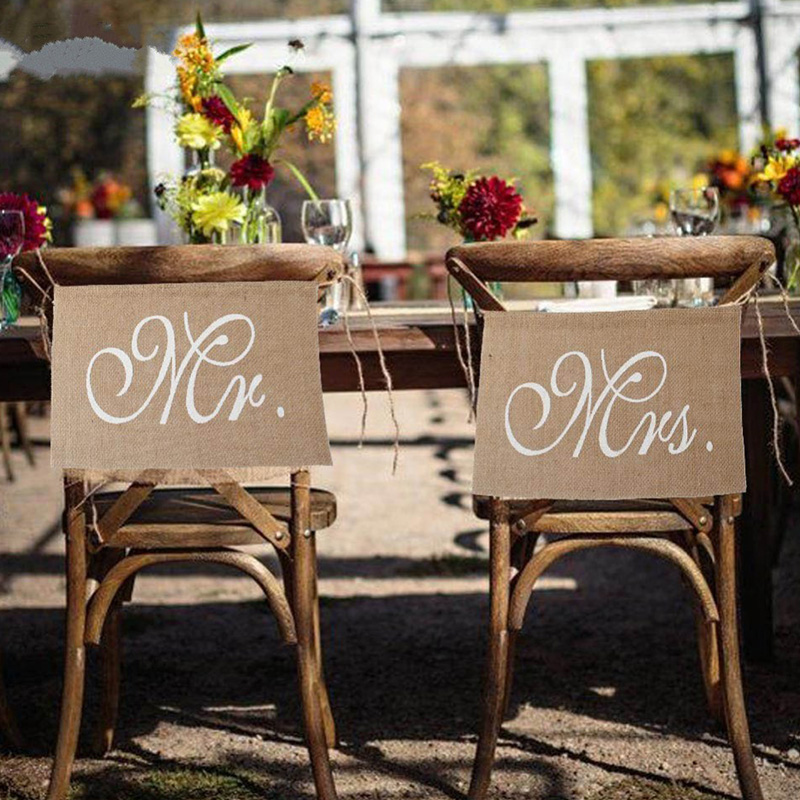 Lace Burlap Bows Mr. & Mrs Burlap Chair Banner Set Chair Sign Garland Rustic Wedding Party Decoration