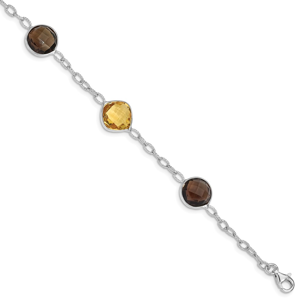 "925 Sterling Silver (15cttw) Citrine and Smoky Quartz Bracelet -7.5"" (7in x 3mm) by"