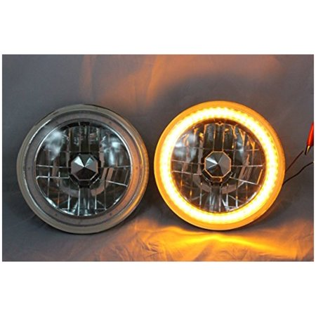 """1964-1974 Plymouth Barracuda 7"""" H6024 H6014 H6015 Round Semi-Sealed Beam Projector Headlights Black Crystal Amber LED Halo"""