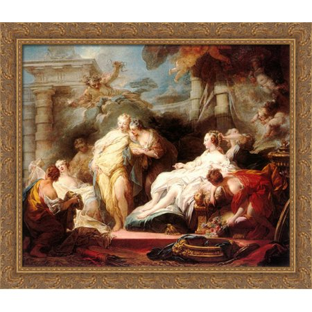 Psyche showing her sisters her gifts from Cupid 32x28 Large Gold Ornate Wood Framed Canvas Art by Jean-Honore Fragonard