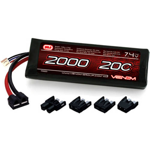 Venom LiPo Battery for Traxxas E-Revo 1:16 20C 7.4 2000mAh 2S with Universal Plug