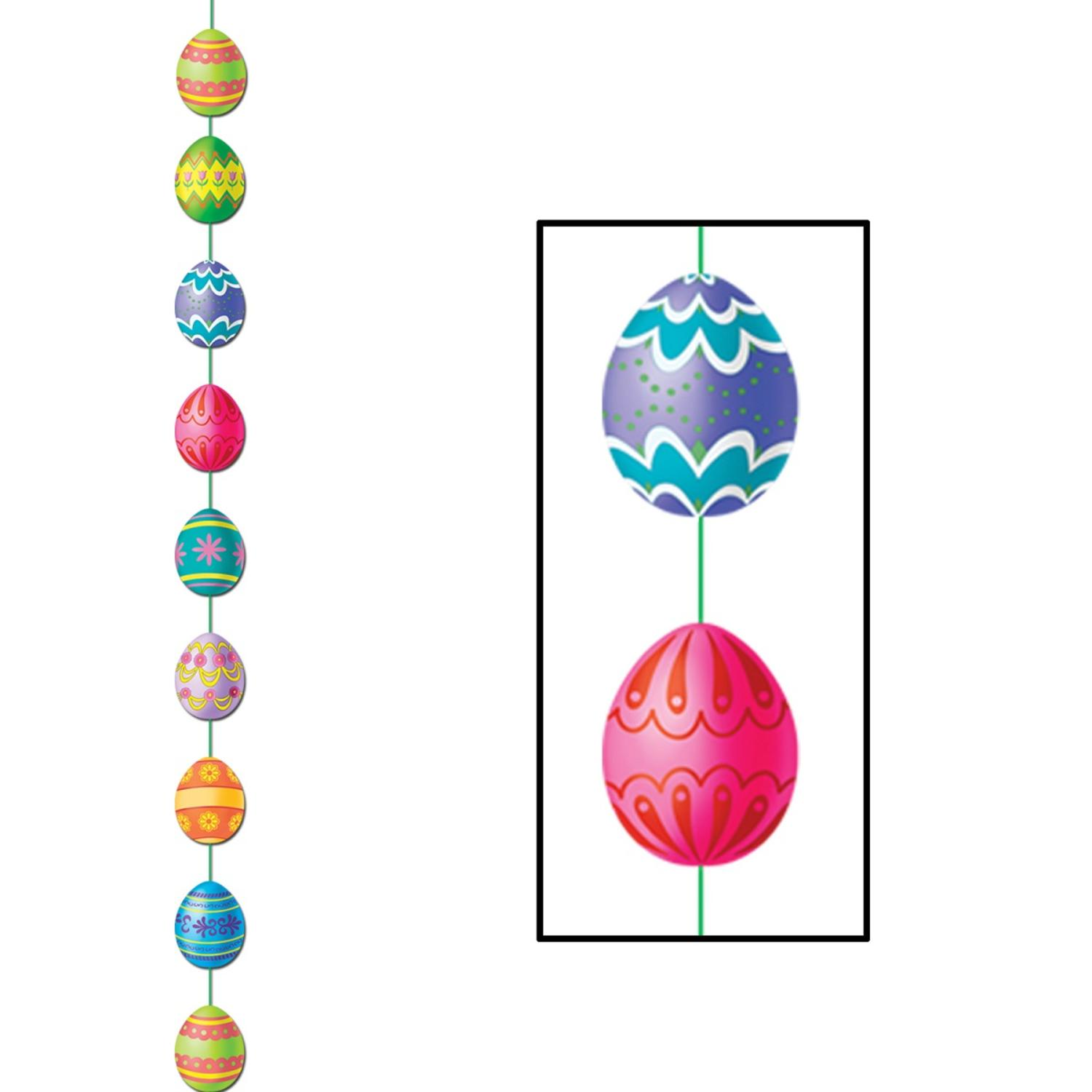 Club Pack of 12 Multi-Colored Easter Egg Stringer Hanging Party Decorations 6.5